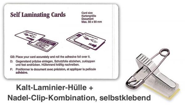 Ausweishülle zum laminieren mit Nadel-Clip