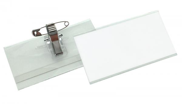 Flat 40 Namensschild mit Nadel-Clip-Kombination