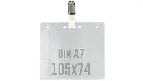 Ausweishuelle mit Clip, DIN A7, fertig montiert