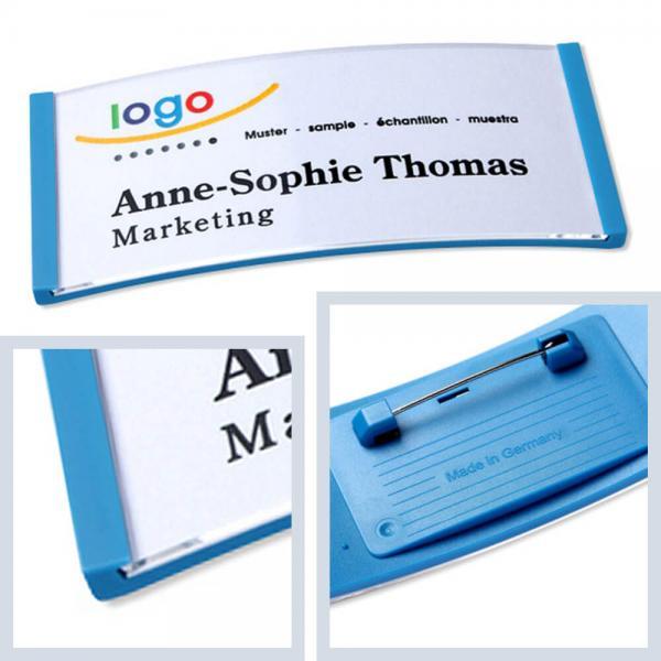 Namensschilder Hellblau, polar® 35 Namensschild mit Nadel, Kunststoff Namensschilder