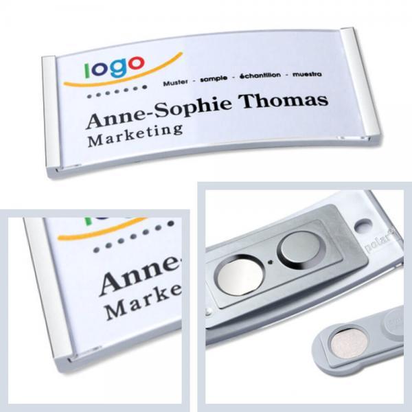 Namensschilder Edelstahl matt, polar® 30 Namensschilder mit Magnet