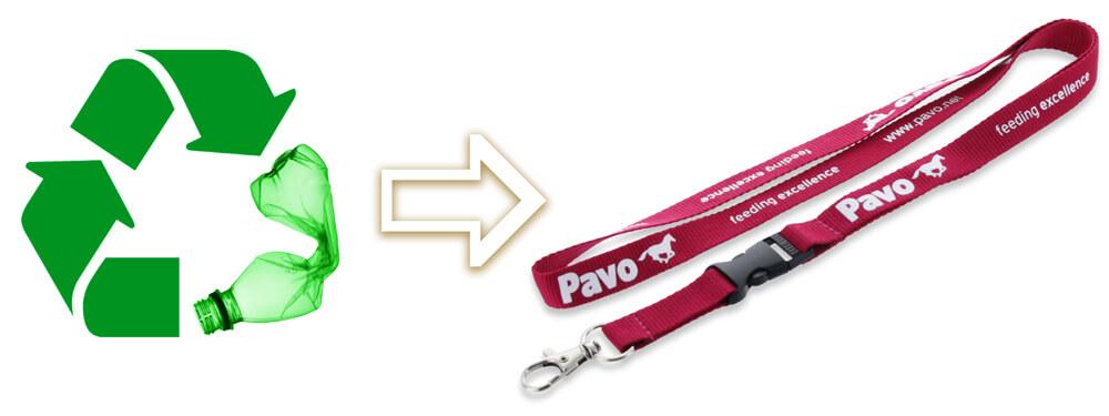 15mm Schlüsselband aus recycelten PET-Material produziert (Eco-friendly)
