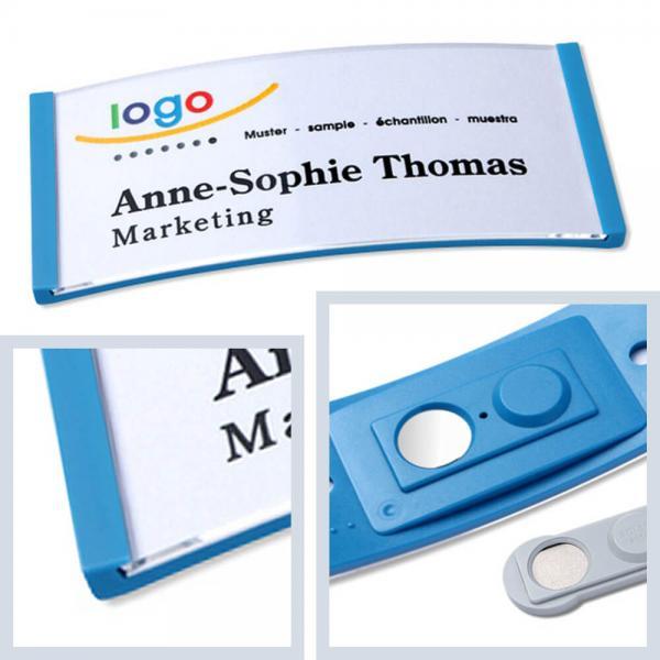 Namensschilder Hellblau, polar® 35 Namensschild Magnet, Kunststoff Namensschilder