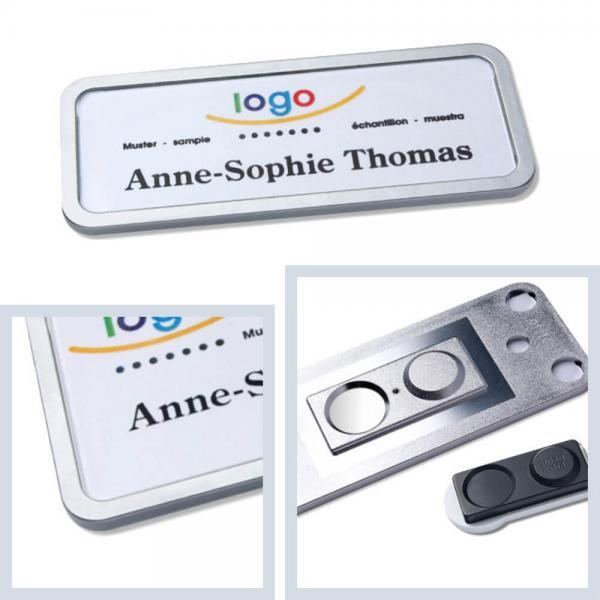 Namensschilder office® 30, Namensschild mit Magnet extra stark, Metall-Namensschilder Edelstahl