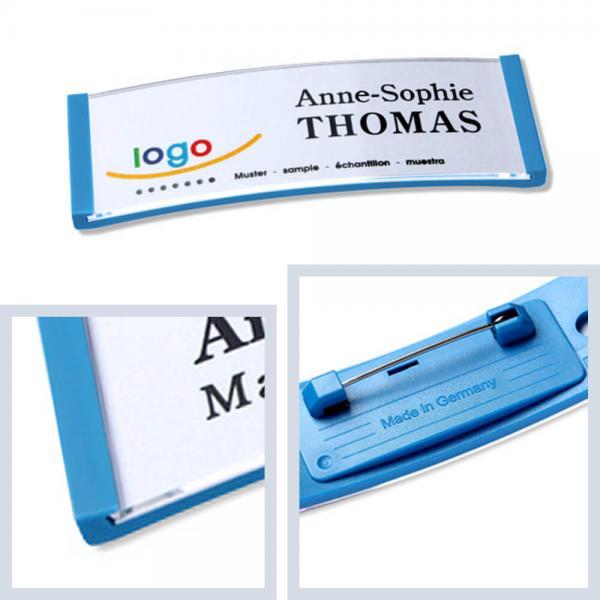 Namensschilder Hellblau, polar® 20 Namensschild mit Nadel, Kunststoff Namensschilder