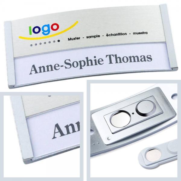 Namensschilder polar® 35 - alu-print, Namensschild mit Logo bedrucken lassen, Magnet Namensschilder