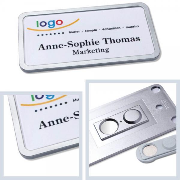 Namensschilder mit Magnet, office® 40 Namensschild mit Magnet, Metall-Namensschilder Edelstahl