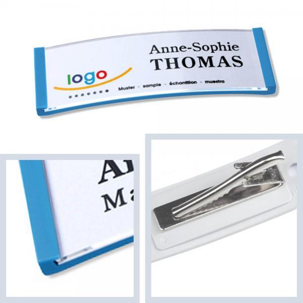 Namensschilder Hellblau, polar® 20 Namensschild Krawattenklammer, Kunststoff Namensschilder