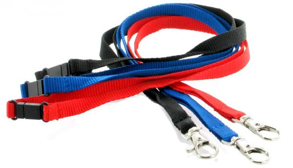 10mm Lanards unbedruckt / Umhängebänder mit Safety-Clip, farbig
