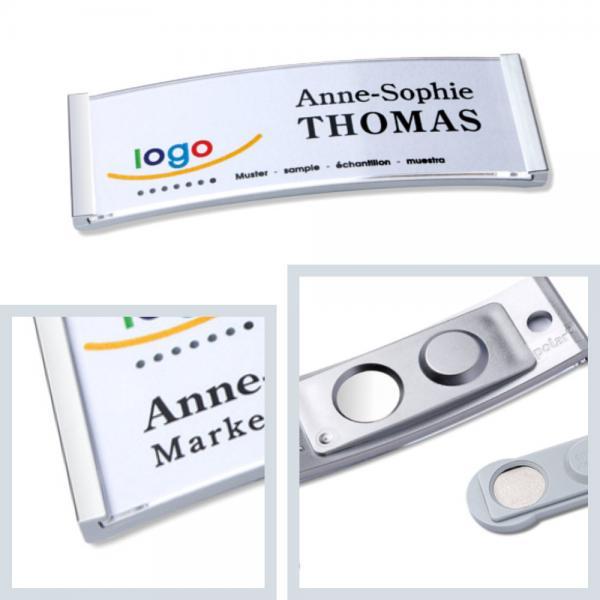 Namensschilder polar® 20 mit Magnet, Metall-Namensschild aus Edelstahl